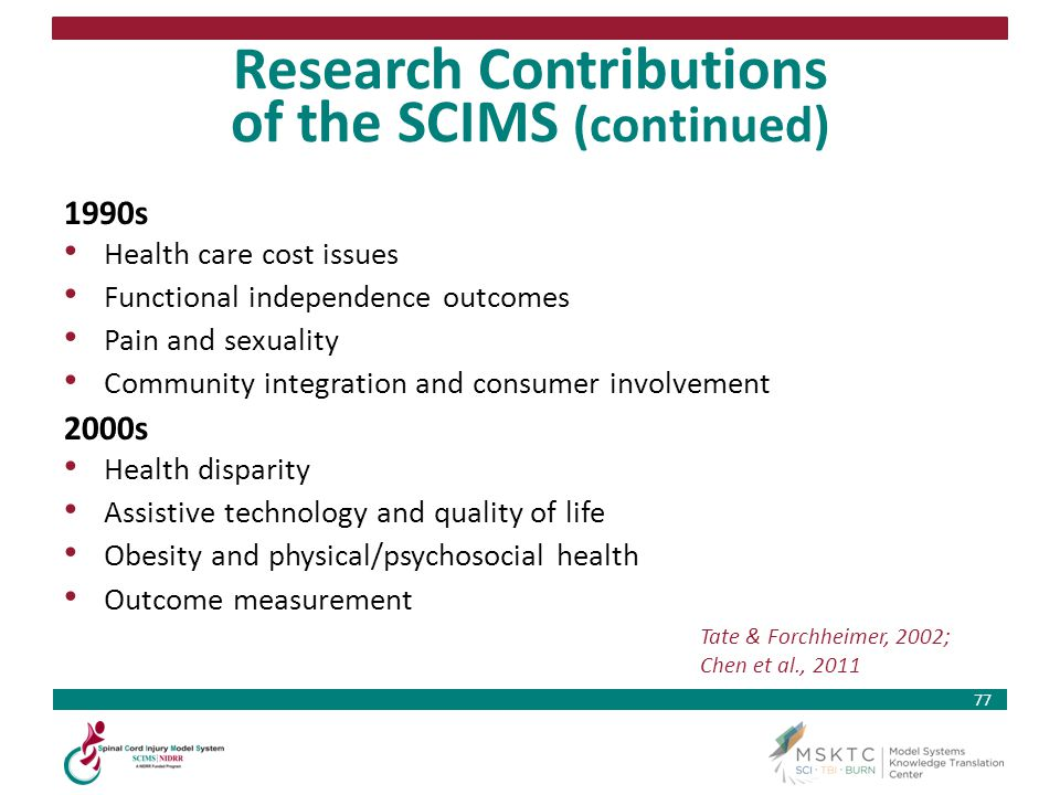 Research Contributions of the SCIMS (continued)