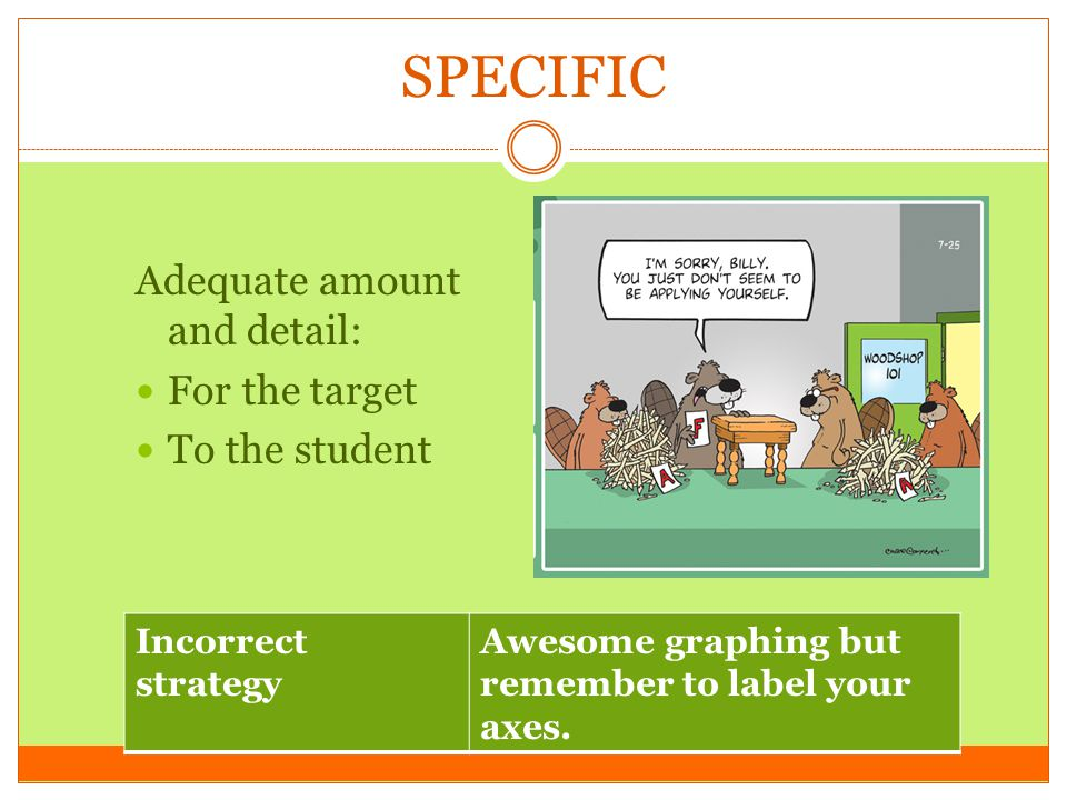 SPECIFIC Adequate amount and detail: For the target To the student