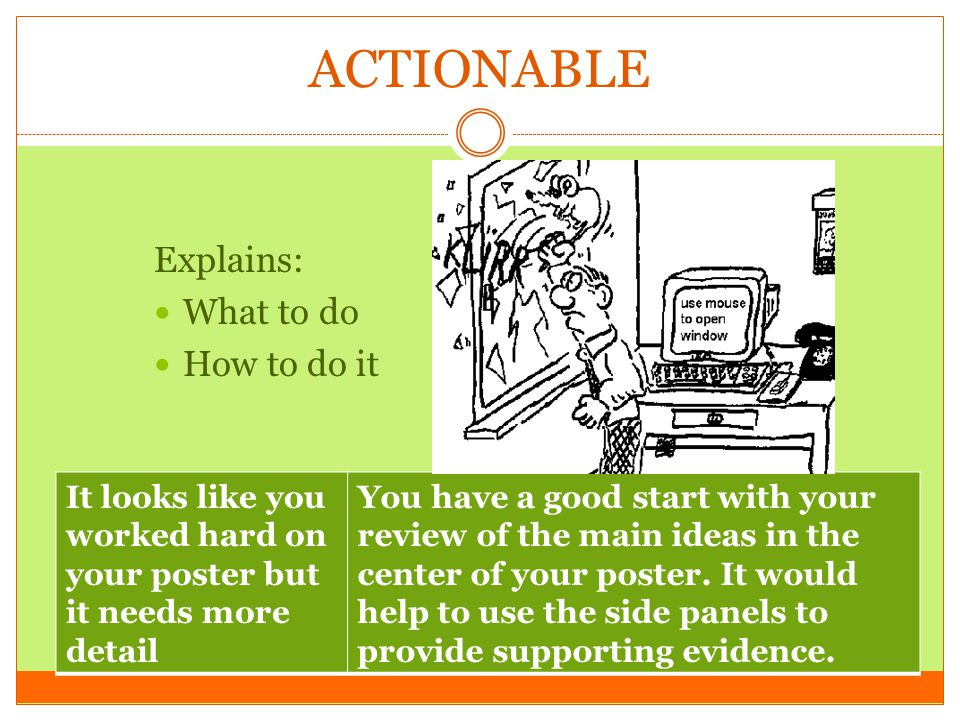 ACTIONABLE Explains: What to do How to do it