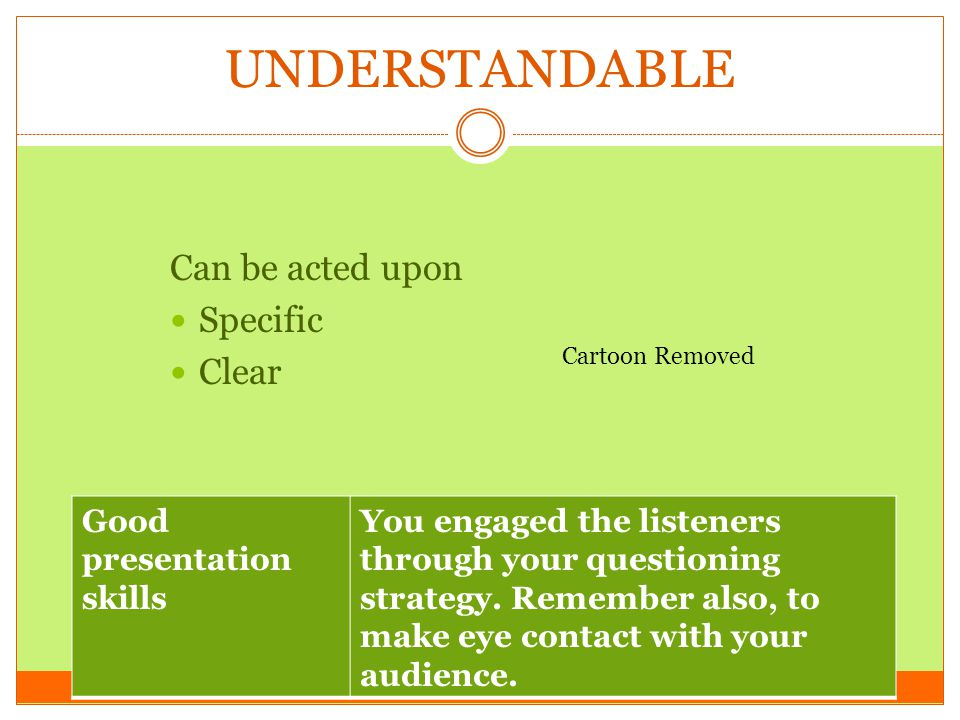 UNDERSTANDABLE Can be acted upon Specific Clear
