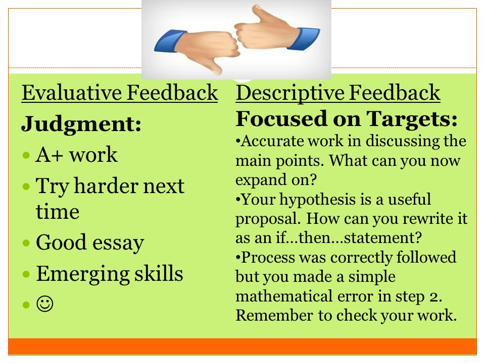Evaluative Feedback Judgment: A+ work Try harder next time Good essay