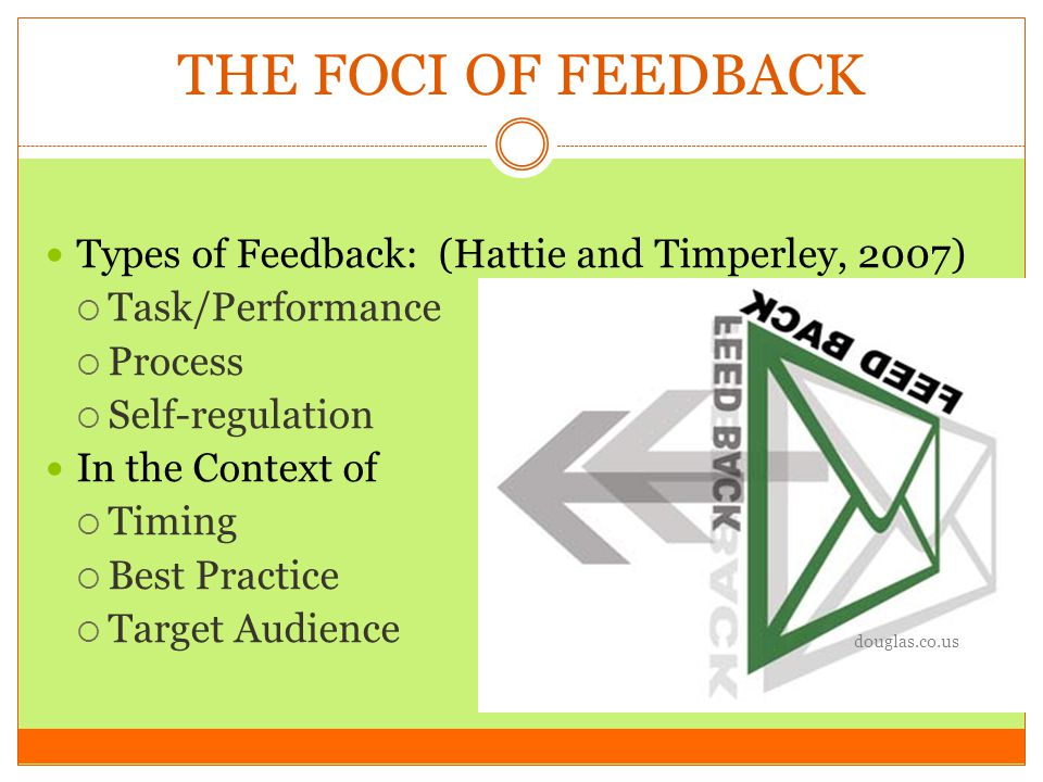 THE FOCI OF FEEDBACK Types of Feedback: (Hattie and Timperley, 2007)