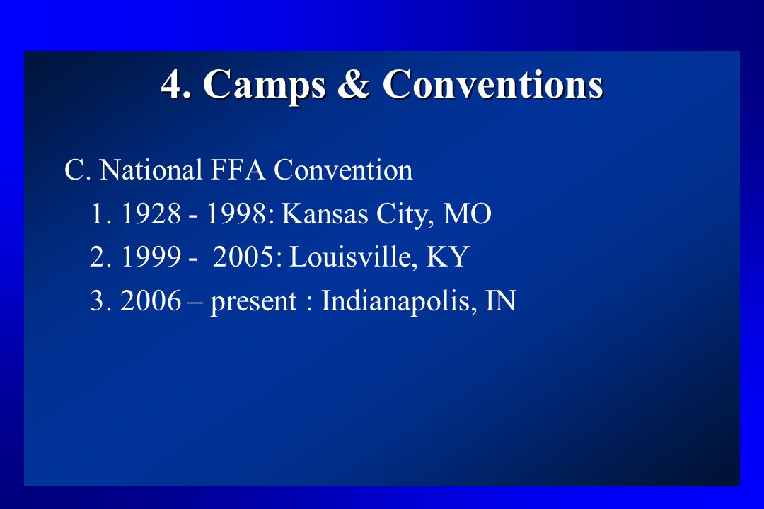 4. Camps & Conventions