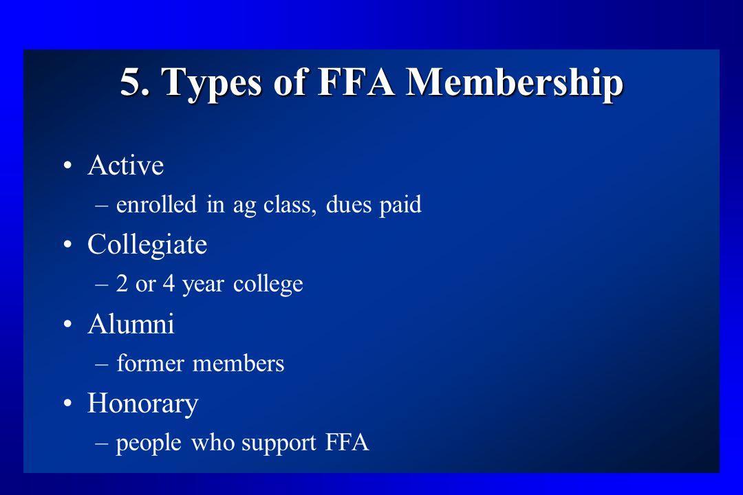 5. Types of FFA Membership