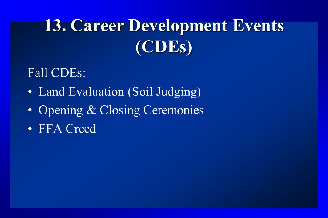 13. Career Development Events (CDEs)