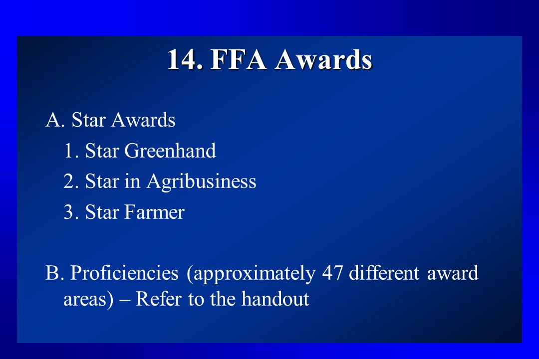 14. FFA Awards