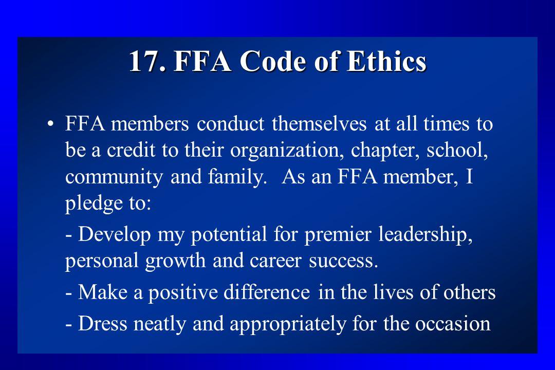 17. FFA Code of Ethics