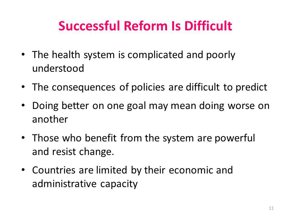 Successful Reform Is Difficult