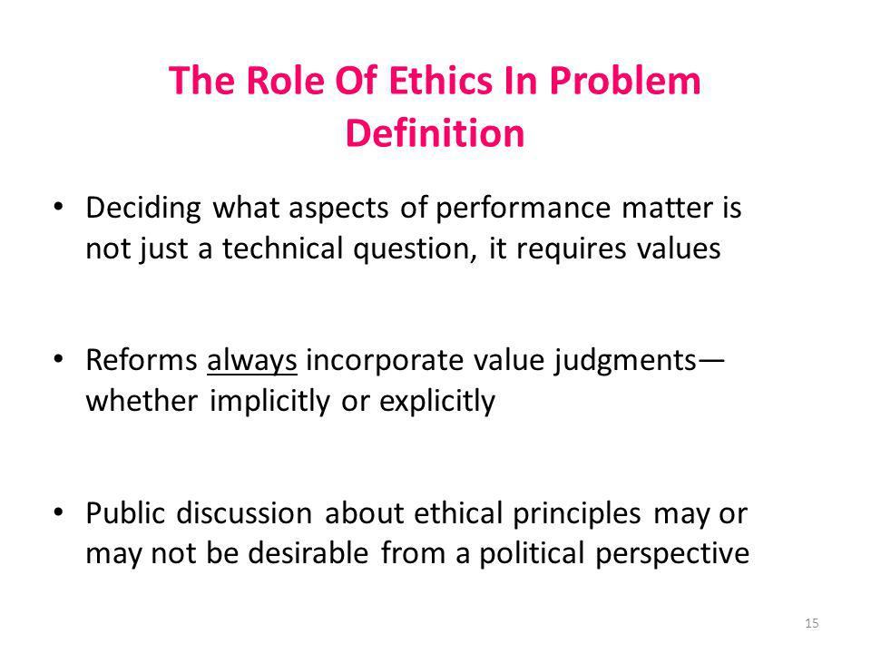 The Role Of Ethics In Problem Definition