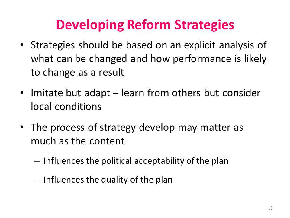 Developing Reform Strategies