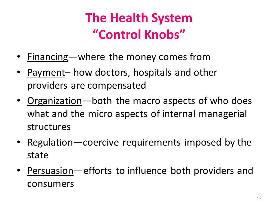 The Health System Control Knobs