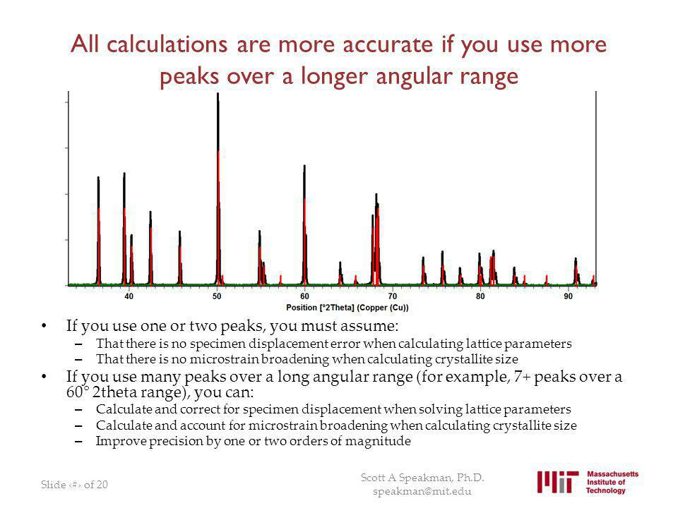 All calculations are more accurate if you use more peaks over a longer angular range