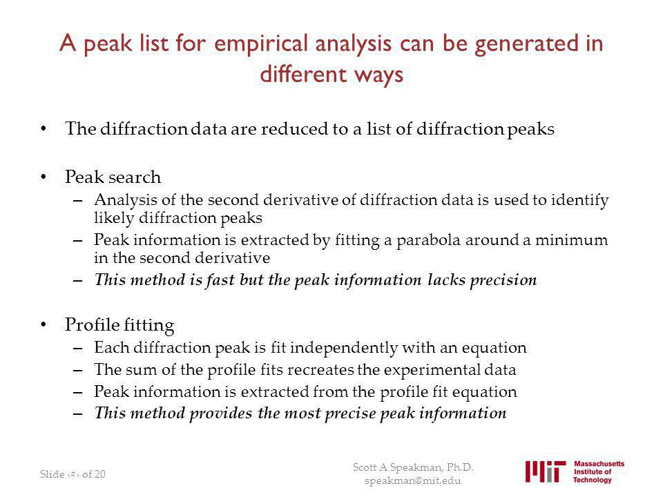 A peak list for empirical analysis can be generated in different ways
