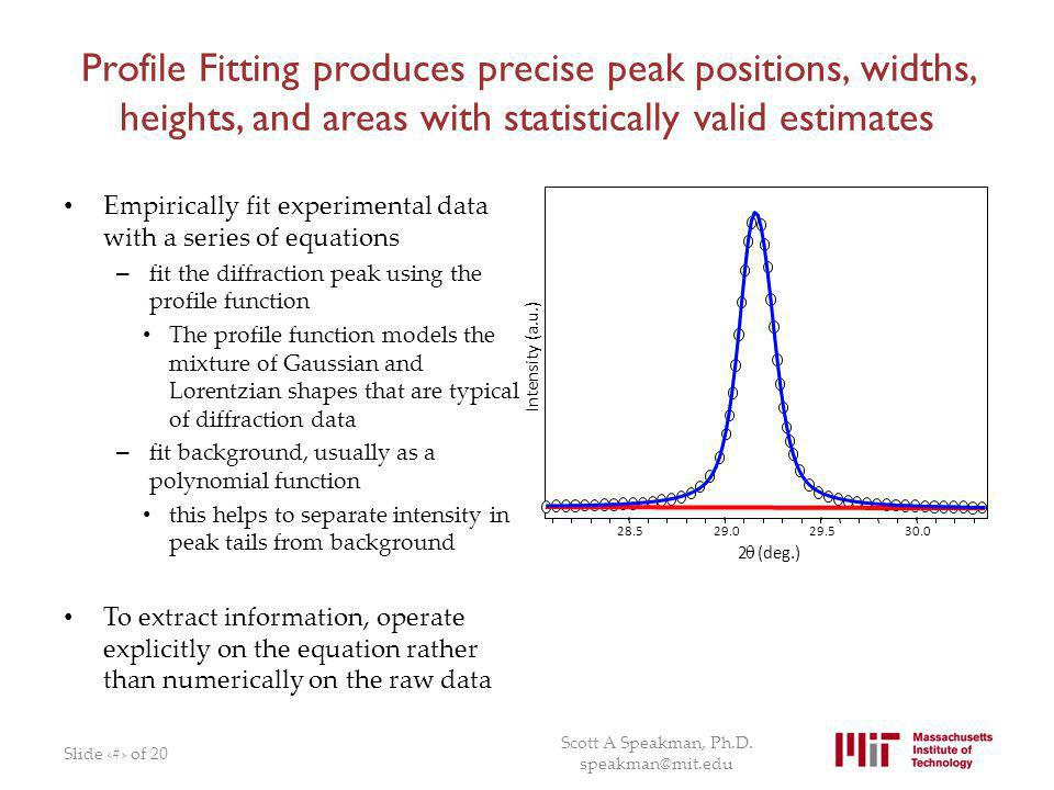 Profile Fitting produces precise peak positions, widths, heights, and areas with statistically valid estimates