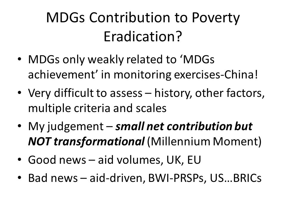 MDGs Contribution to Poverty Eradication