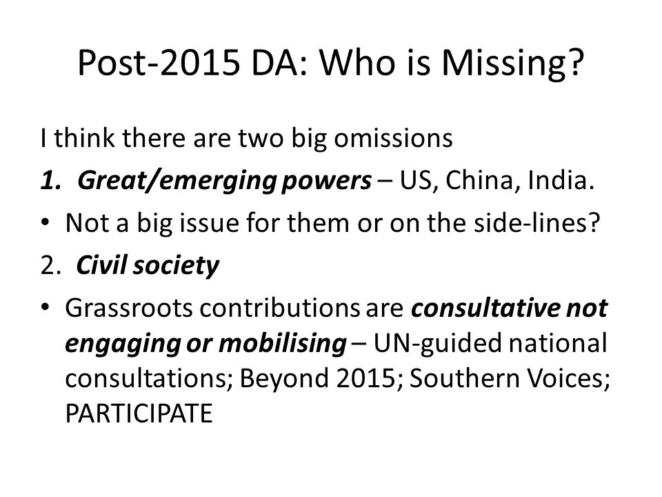 Post-2015 DA: Who is Missing