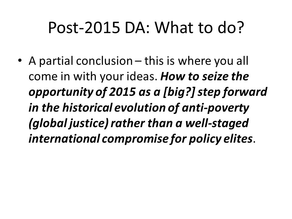 Post-2015 DA: What to do