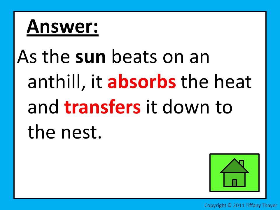 Answer: As the sun beats on an anthill, it absorbs the heat and transfers it down to the nest.