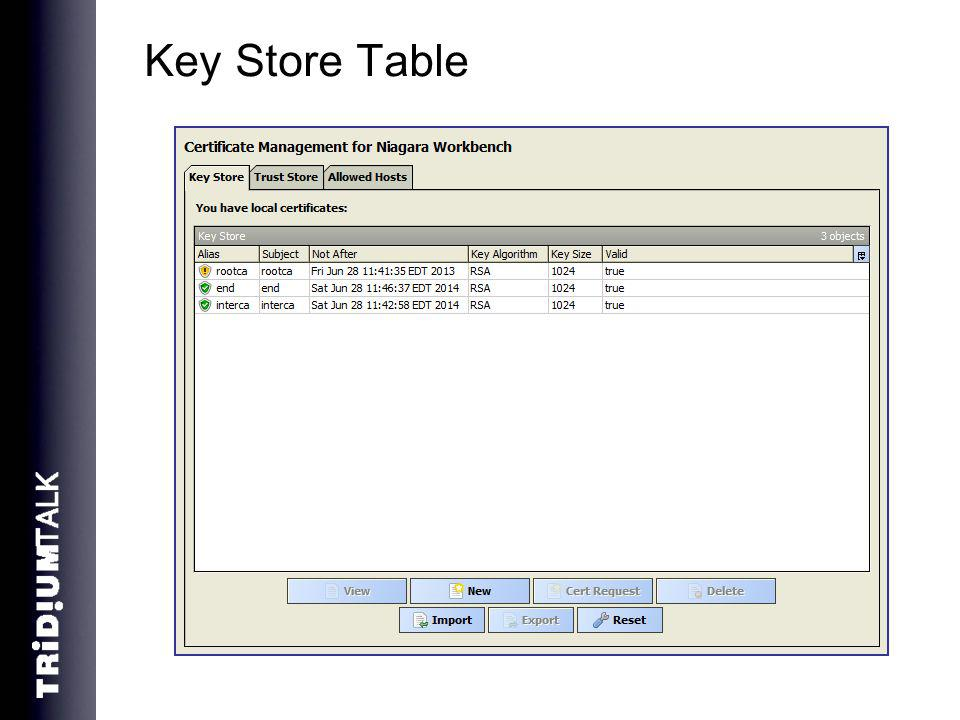 Key Store Table