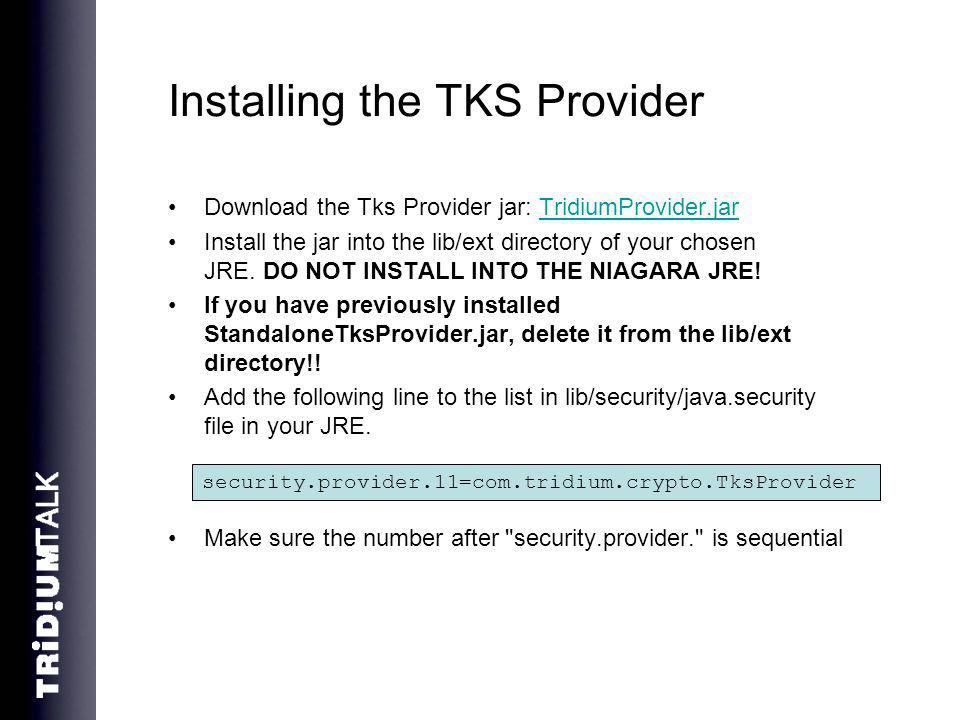Installing the TKS Provider