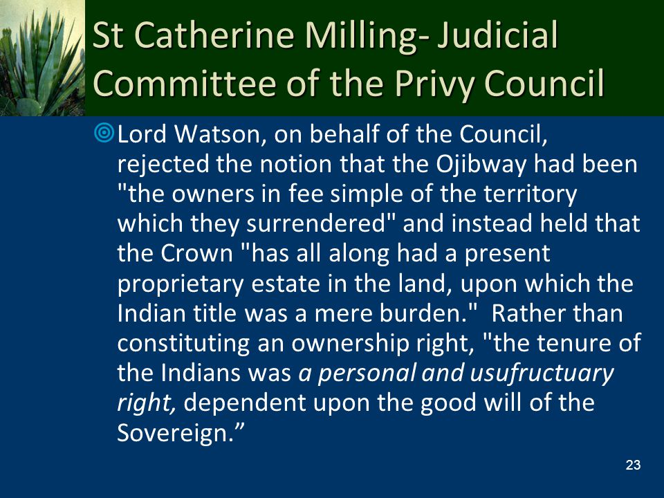 St Catherine Milling- Judicial Committee of the Privy Council