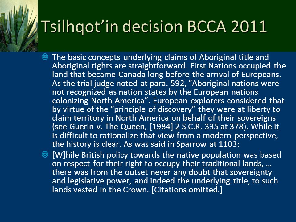 Tsilhqot'in decision BCCA 2011