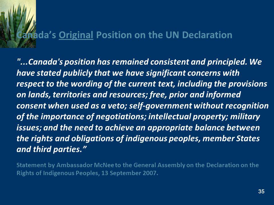 Canada's Original Position on the UN Declaration