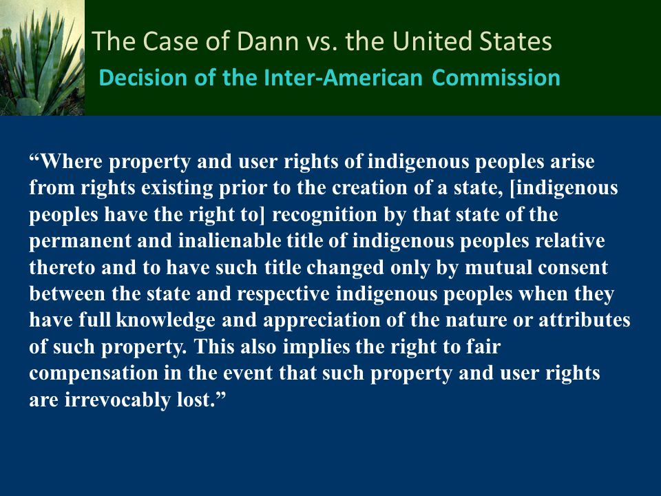 The Case of Dann vs. the United States Decision of the Inter-American Commission
