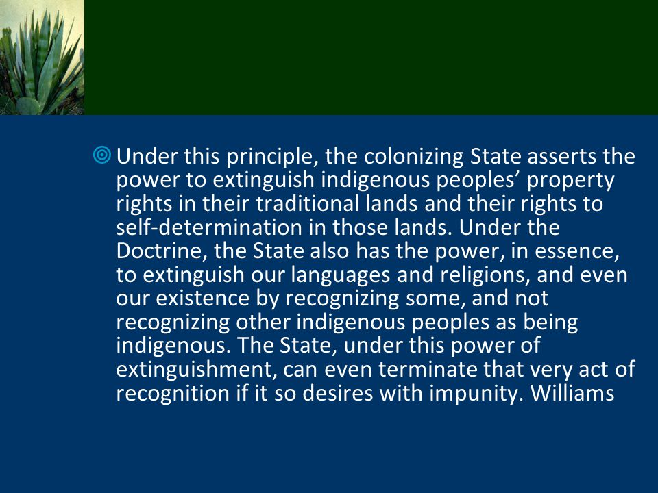 Under this principle, the colonizing State asserts the power to extinguish indigenous peoples' property rights in their traditional lands and their rights to self-determination in those lands.
