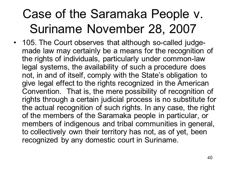 Case of the Saramaka People v. Suriname November 28, 2007