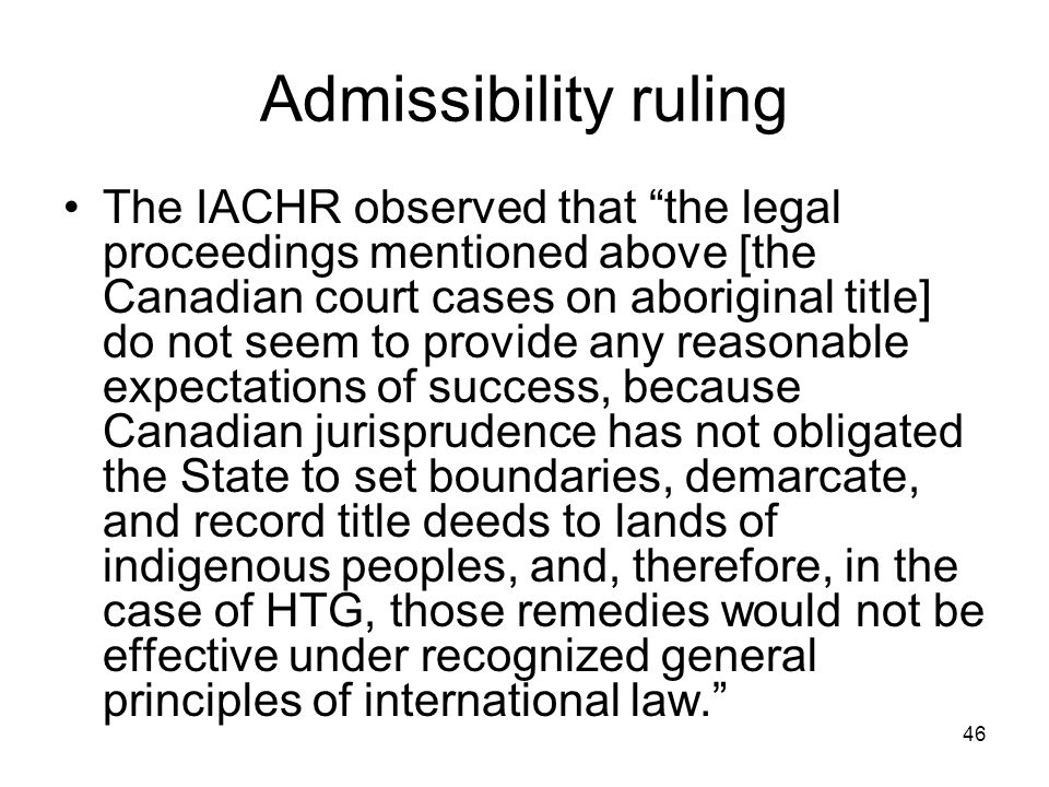Admissibility ruling
