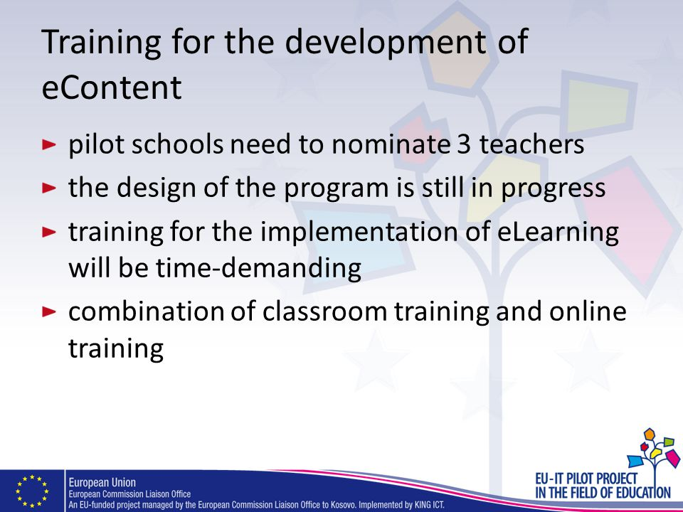 Training for the development of eContent