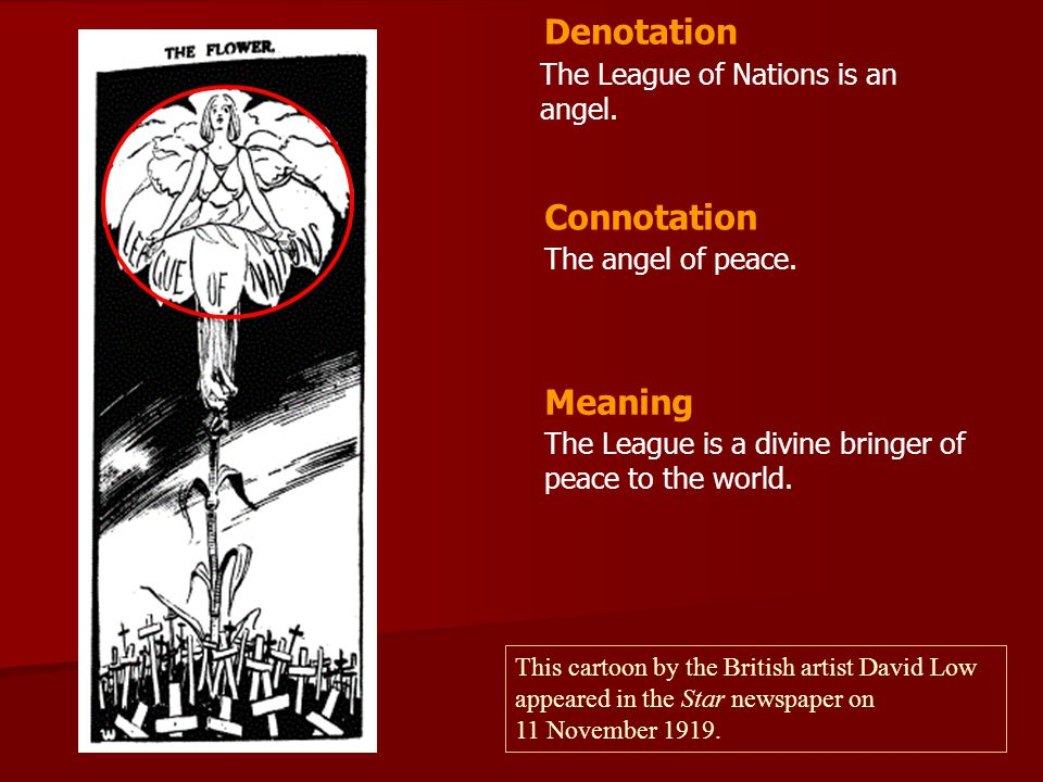 Denotation Connotation Meaning The League of Nations is an angel.