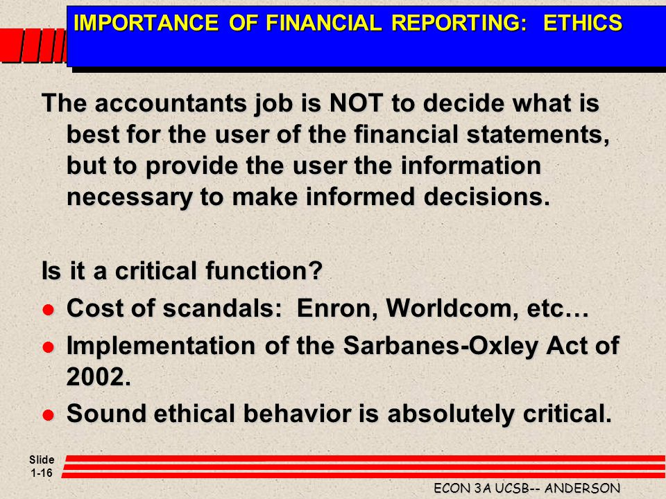 IMPORTANCE OF FINANCIAL REPORTING: ETHICS