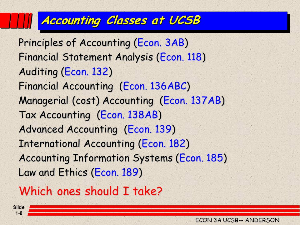 Accounting Classes at UCSB