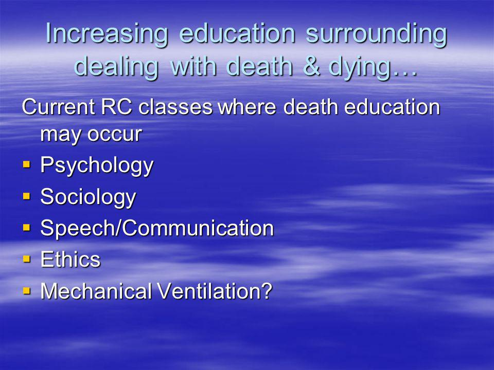 Increasing education surrounding dealing with death & dying…