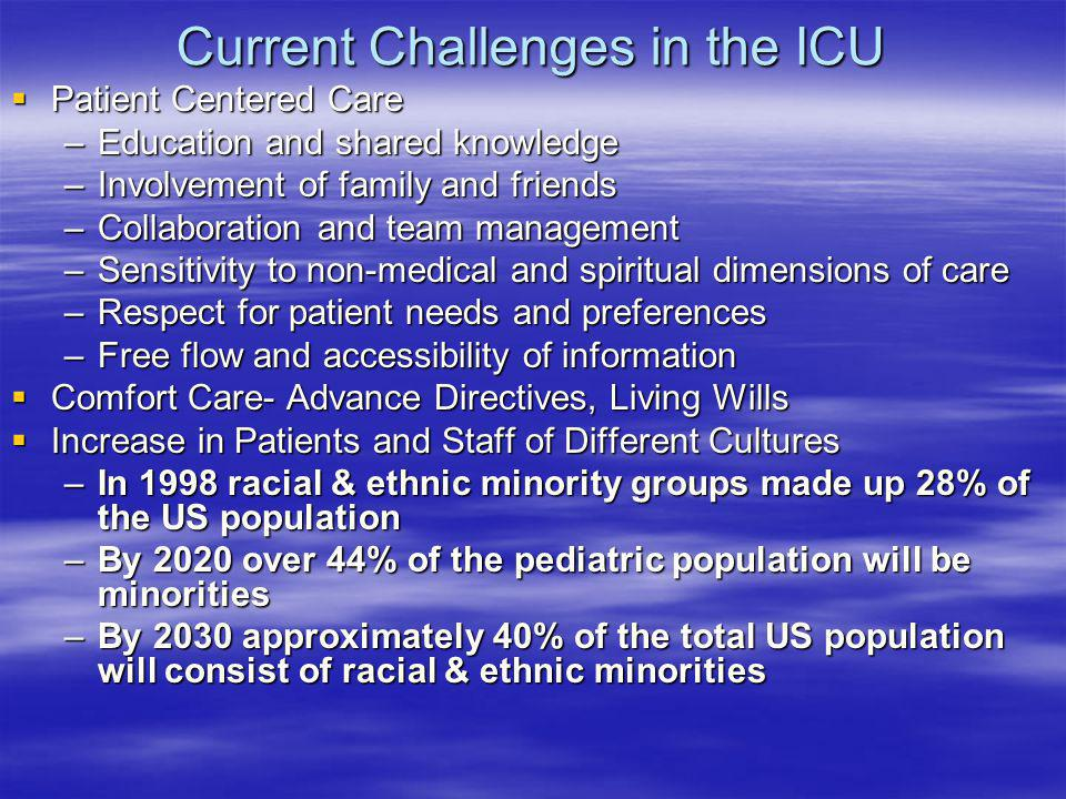 Current Challenges in the ICU