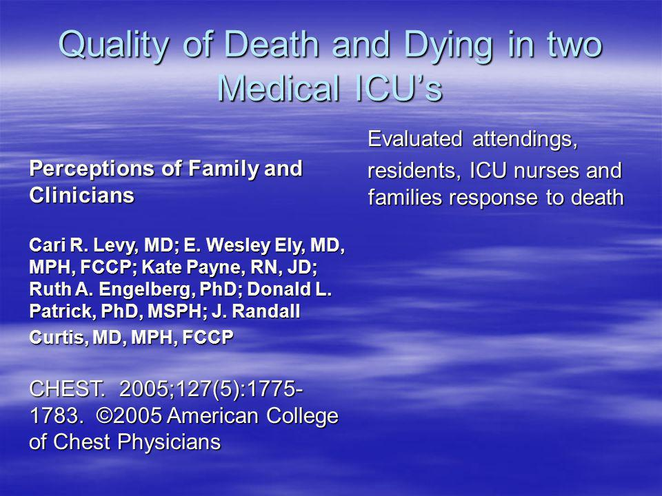 Quality of Death and Dying in two Medical ICU's