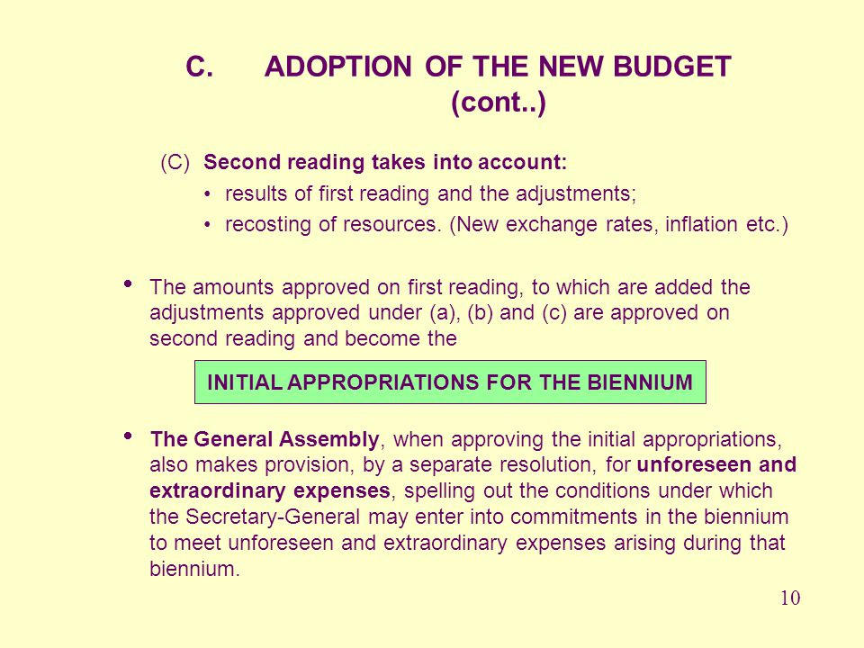 ADOPTION OF THE NEW BUDGET (cont..)