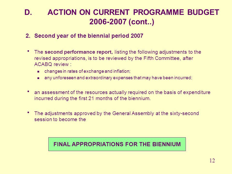 FINAL APPROPRIATIONS FOR THE BIENNIUM