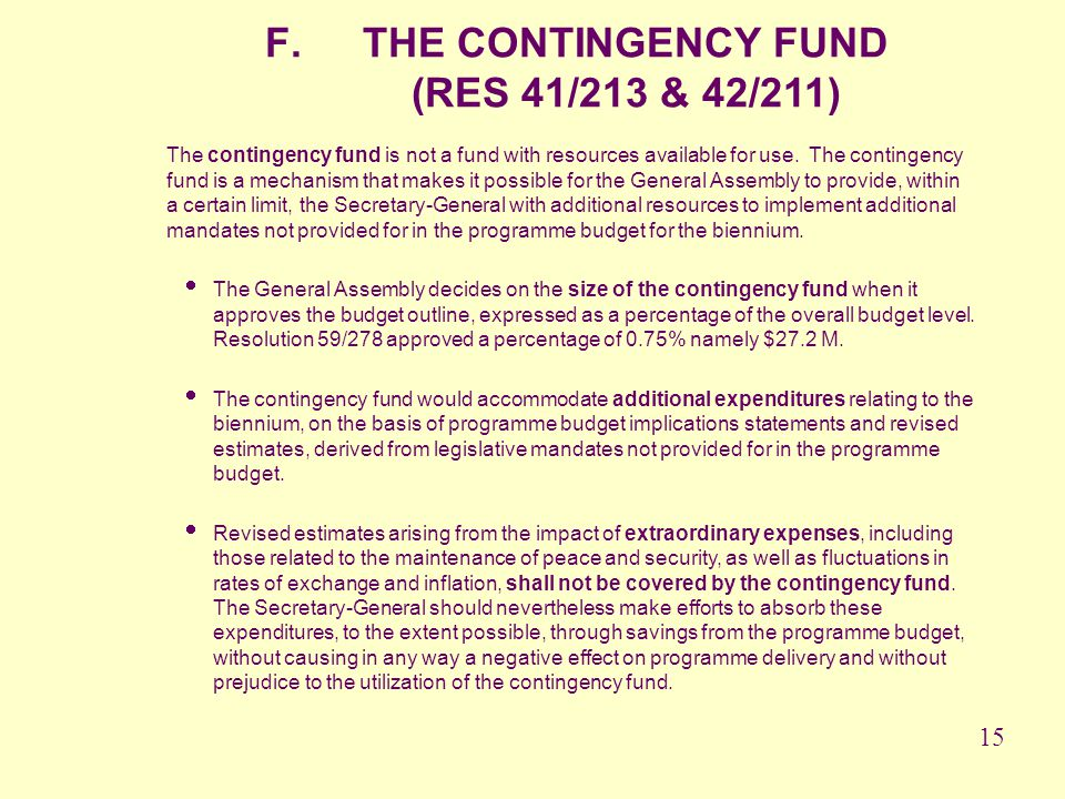 THE CONTINGENCY FUND (RES 41/213 & 42/211)