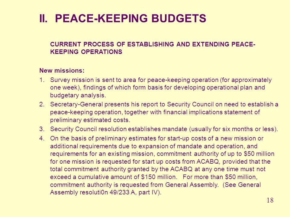 II. PEACE-KEEPING BUDGETS