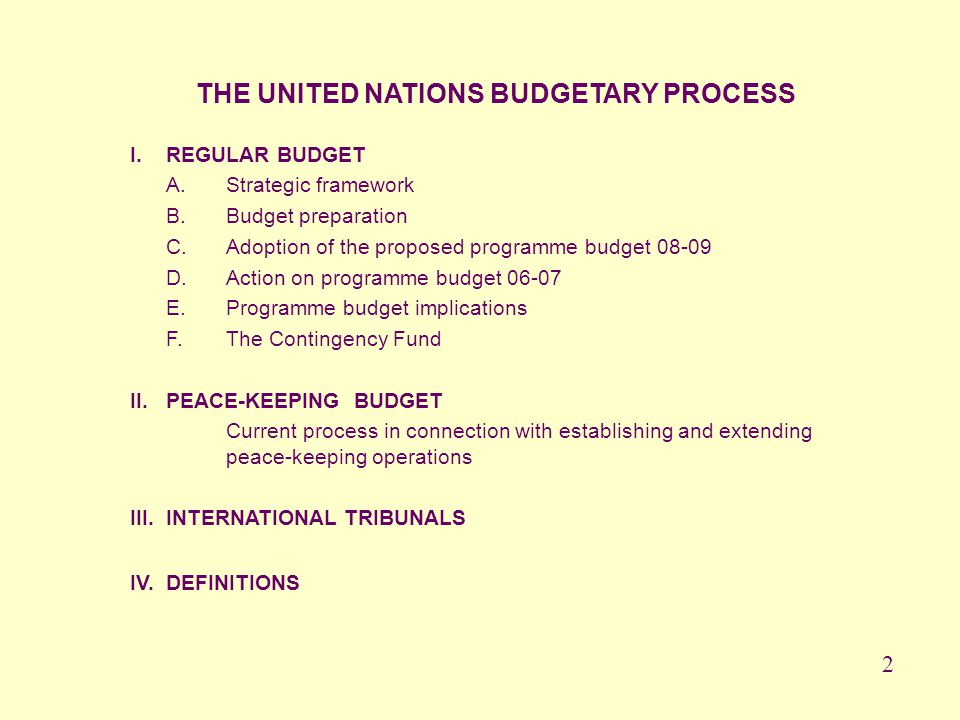 THE UNITED NATIONS BUDGETARY PROCESS