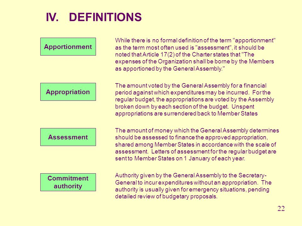 IV. DEFINITIONS 22 Apportionment Appropriation Assessment Commitment