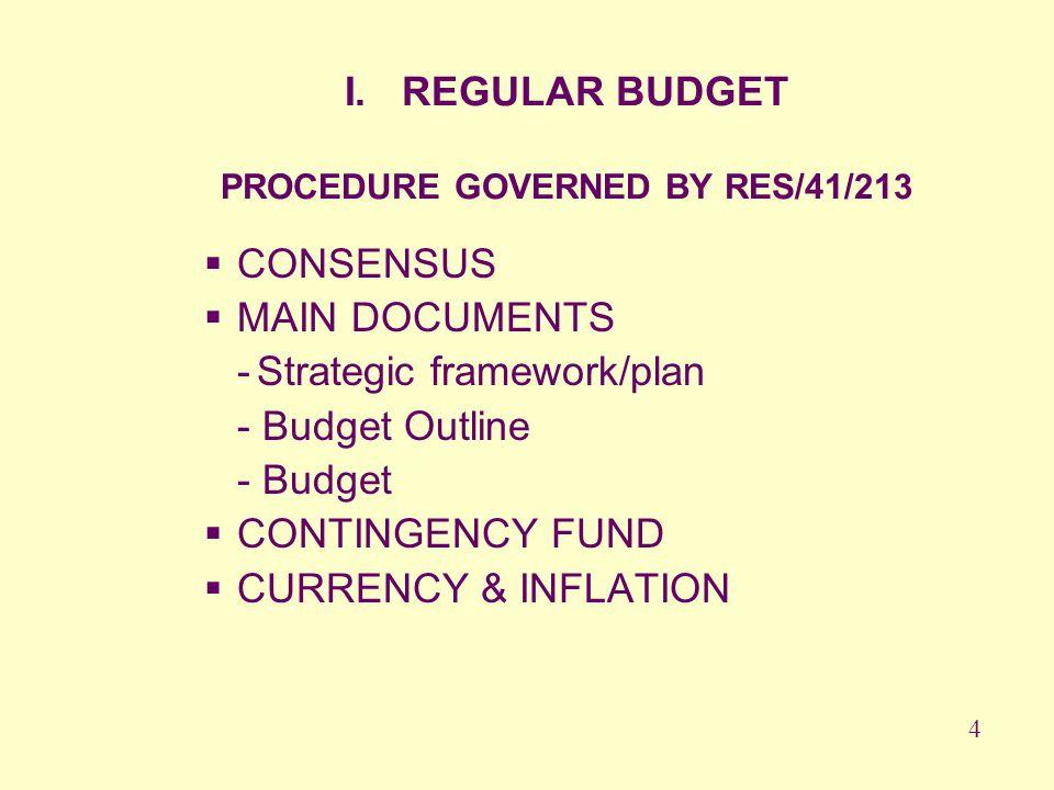 I. REGULAR BUDGET PROCEDURE GOVERNED BY RES/41/213