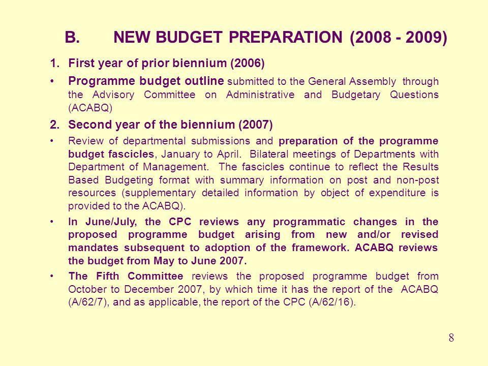B. NEW BUDGET PREPARATION (2008 - 2009)