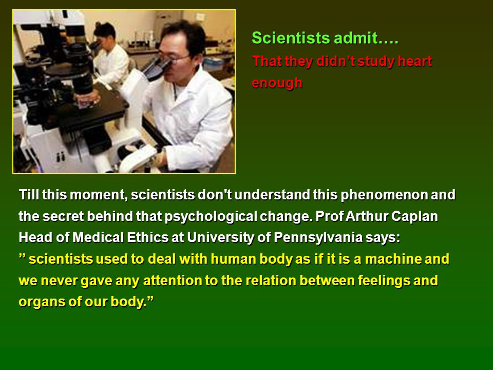 Scientists admit…. That they didn't study heart enough