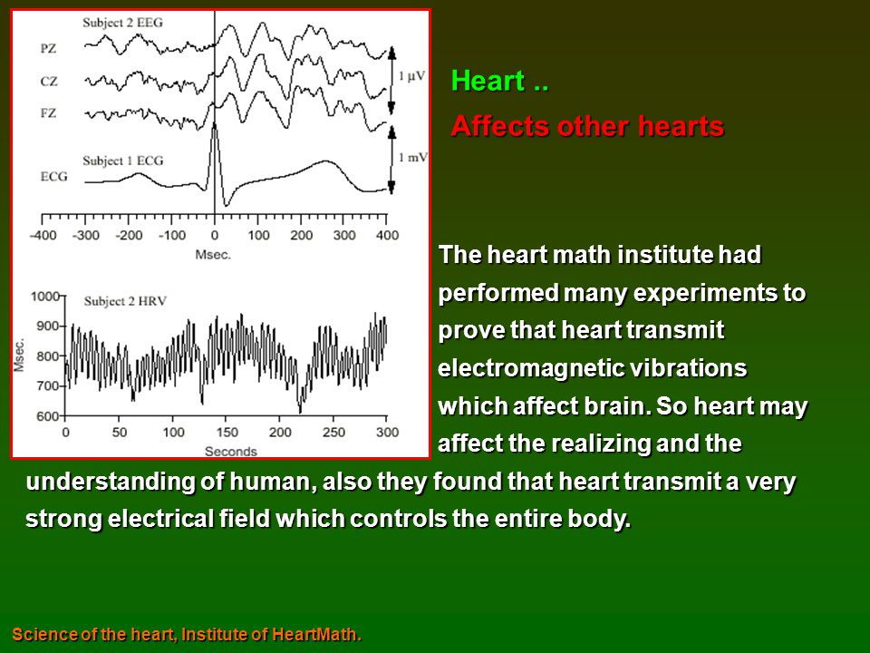 Heart .. Affects other hearts The heart math institute had
