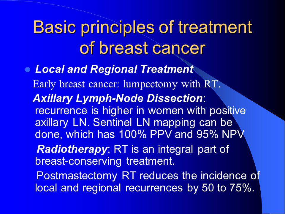 Basic principles of treatment of breast cancer