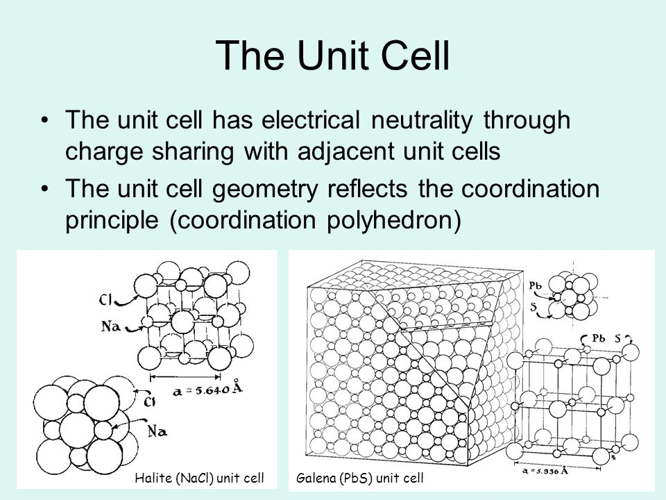 The Unit Cell The unit cell has electrical neutrality through charge sharing with adjacent unit cells.
